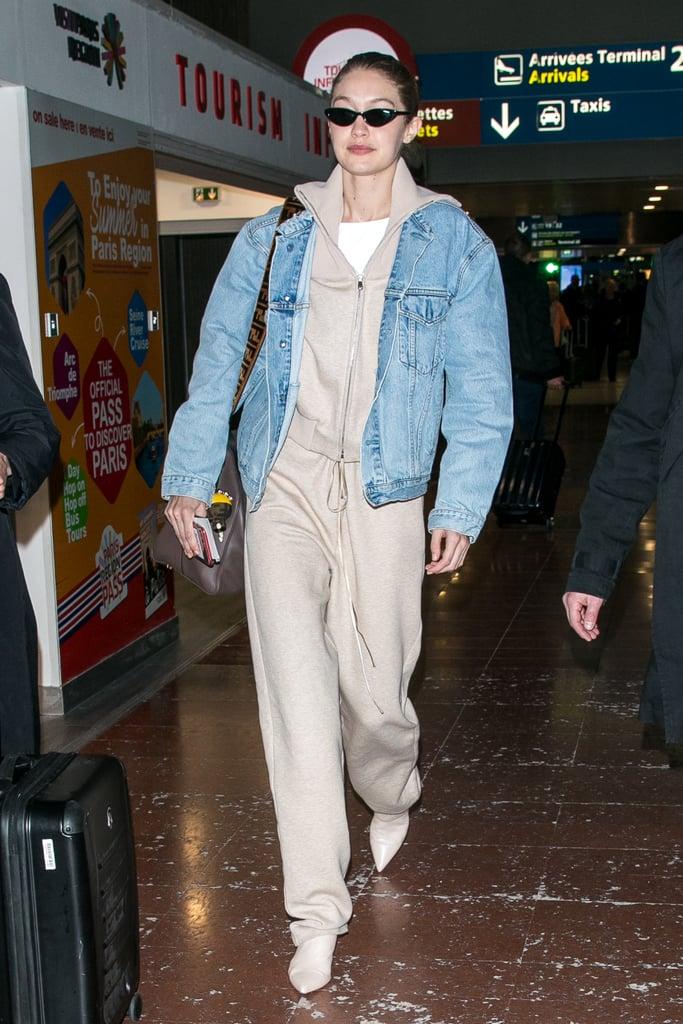 Gigi Hadid Wearing Tan Booties at the Airport