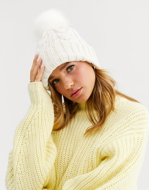 New Look Cable Knit Faux Fur Bobble Hat
