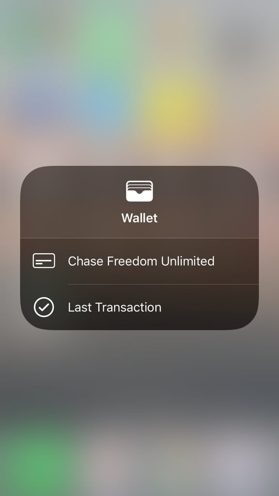 Wallet shows you what card is active and your last transaction.