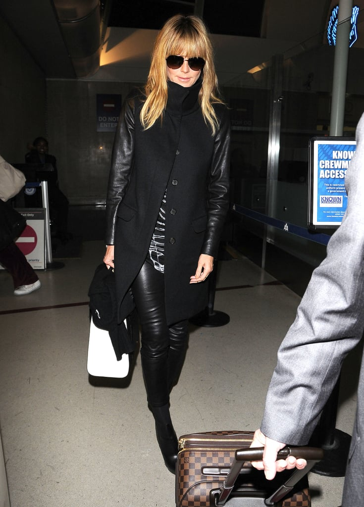 A little bit of toughness was on display with all the noir leather Heidi Klum picked. She was almost going incognito, too, using a black scarf and dark sunglasses as extra accessories.