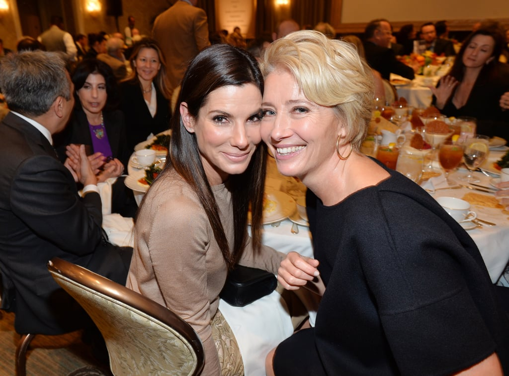 Sandra was cheek to cheek with Emma Thompson during the AFI Awards in January 2014.