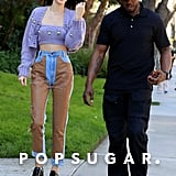 Kendall Jenner Purple Sweater and Jeans