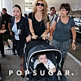 Shakira pushed her son, Milan, in a stroller when she arrived at LAX.