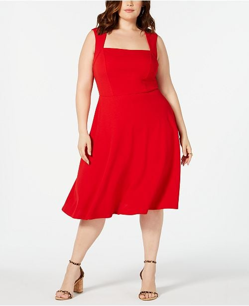 Love Squared Square-Neck Fit & Flare Dress