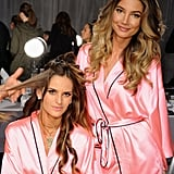 Izabel Goulart and Lily Aldridge posed together in their matching robes.