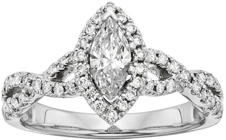 IGL Certified Diamond Halo Engagement Ring in 14k White Gold (1 ct. T.W.) ($6,250)