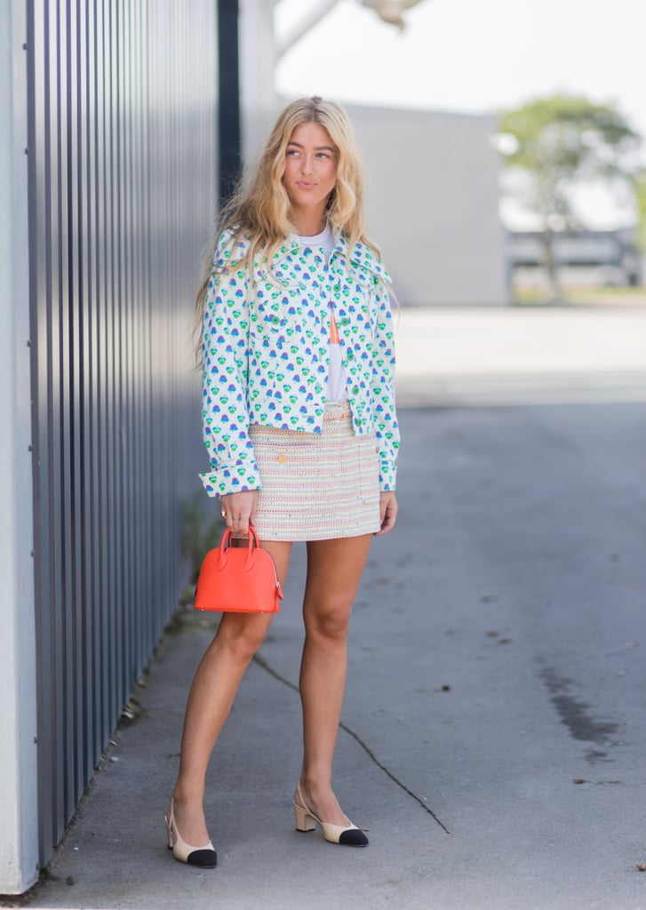 Style a Tweed Skirt With a Colorful Jacket