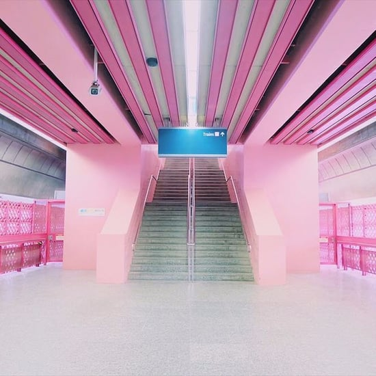 Pink Train Station in Singapore