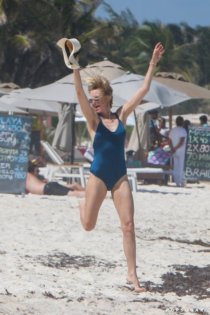 Naomi Watts was in a sun-worshipping mood during her day at the beach in Tulum, Mexico, this week. The actress and mom of two was joined by friends on the sand, where she rocked a blue one-piece suit and did an excited dance near the ocean. Maybe Naomi saw these recent photos of fellow Aussie Chris Hemsworth praising the sun and wanted to get in on the fun?      Related:                                                                                                           Naomi Watts Just Proved That a One-Piece Swimsuit Is the Sexiest Type of Swimsuit You Can Own               Naomi seems to be soaking up the single life since her split from Liev Schreiber back in September 2016; the couple went their separate ways after 11 years together, but have managed to keep things amicable for their sons, Sasha and Samuel, who hit the red carpet with their dad in March for the Isle of Dogs premiere.