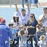 Ben Affleck and Jennifer Garner cheered Seraphina to the finish line at her track meet in LA.