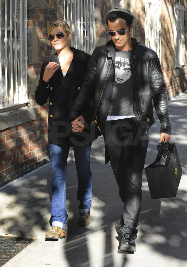 Jennifer Aniston and Justin Theroux together in the Big Apple.