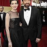 Anne Hathaway hit the red carpet with Hugh Jackman.