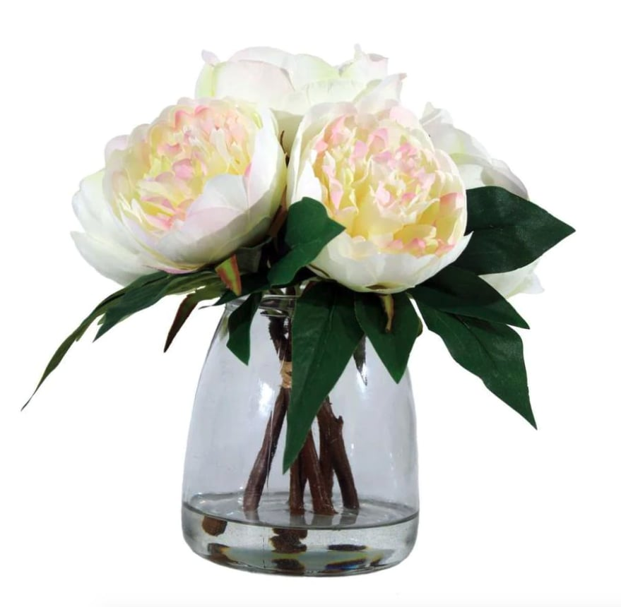 allen + roth White and Pink Indoor Artificial Peony Flowers