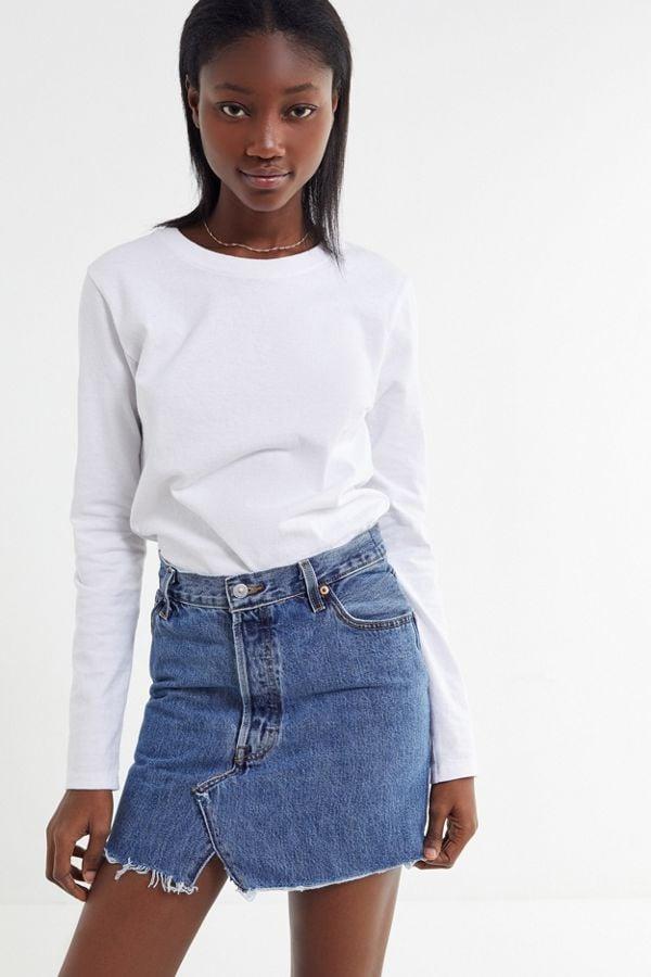 Urban Renewal Remade Levi's Notched Denim Mini Skirt
