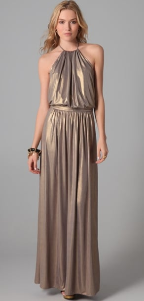 Channel a '70s retro vibe with this metallic gold halter-style creation. Big hoop earrings and chunky platforms will complete the look. Tibi Metallic Halter Gown ($263)