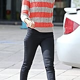 Zoe Saldana was cool and casual in this striped LOFT sweater ($30, originally $60), black skinny jeans, and leather Rag & Bone ankle boots ($495) in LA.