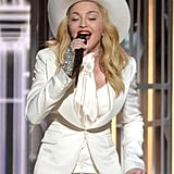 "Madonna took the stage to perform ""Open Your Heart."""