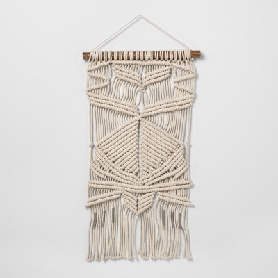 Woven Cotton Black Macrame Wall Tapestry