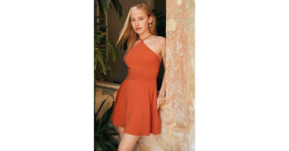 c07a539f8f3e4c UO Marabella Y-Neck Mini Dress