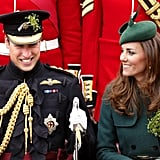 The Duke and Duchess of Cambridge shared a sweet moment during the St. Patrick's Day Parade in Aldershot, England, in March.