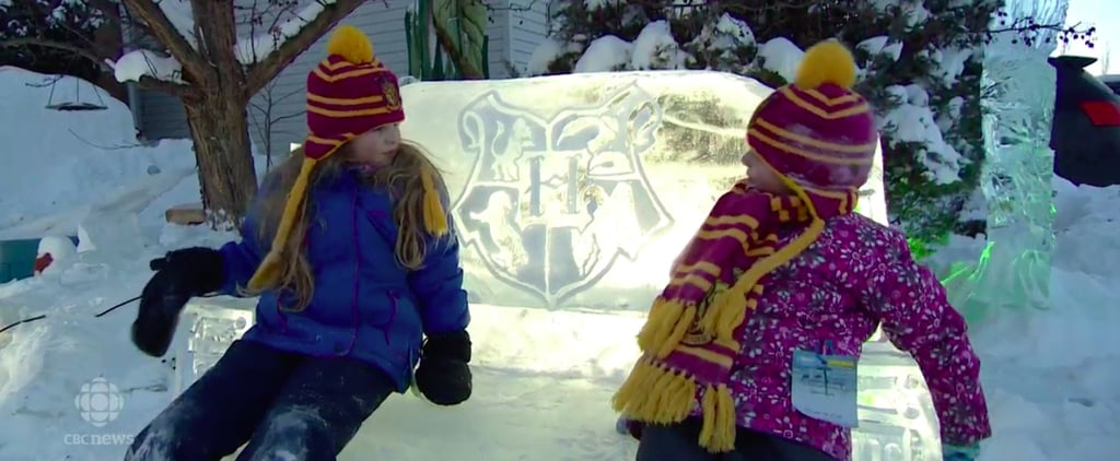 Dad Sculpts Hogwarts Out of Ice on Front Lawn For Daughters