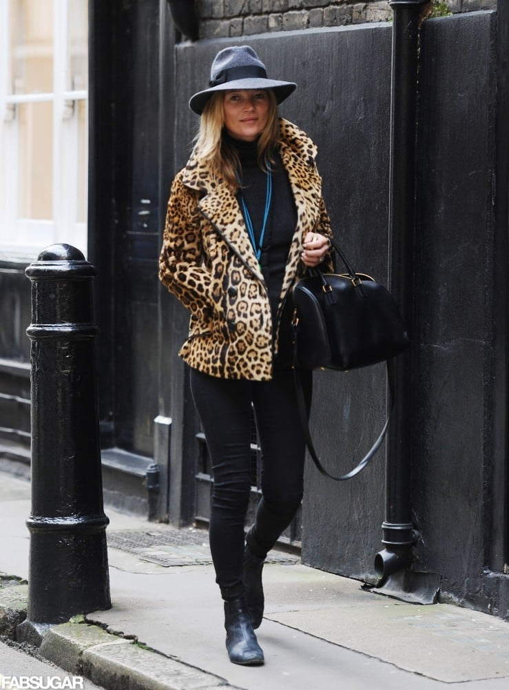 Kate Moss strutted her stuff in a leopard peacoat and wool hat ... f0f2aeabb