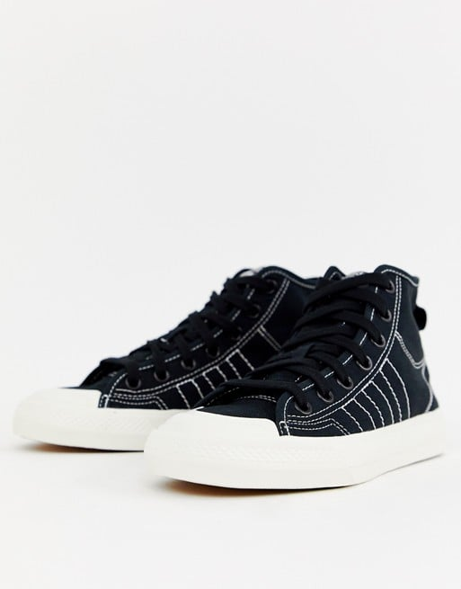 82376e2c1cb8 Adidas Originals Black High Top Nizza Sneakers