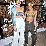 Hailey Baldwin wearing slouchy jeans, a bra top, and a Fallon x The Mummy choker at the Winter Bumbleland.