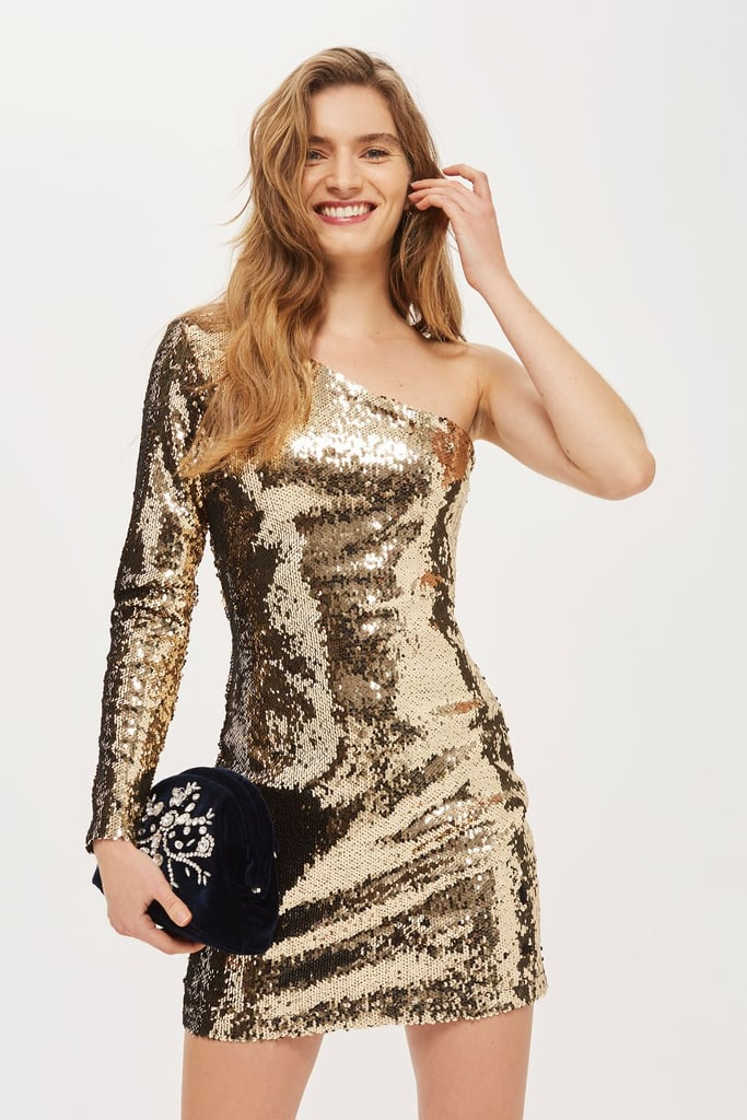 Topshop One Shoulder Sequin Mini Bodycon Dress (£46)