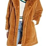 Woven Heart Faux Fur Coat