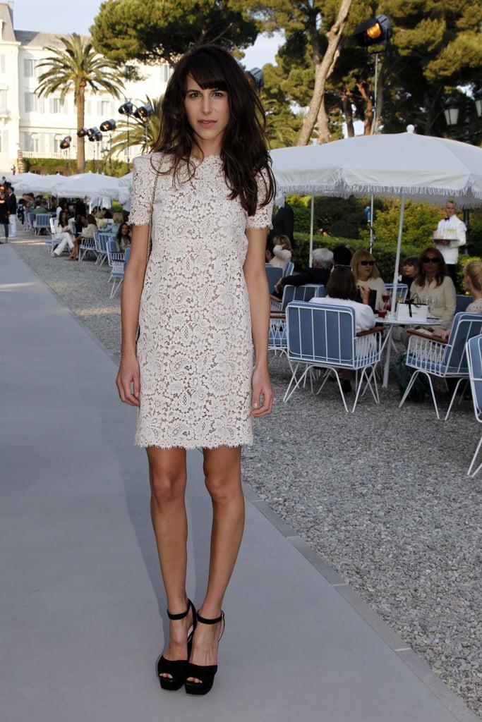 Caroline Sieber in Chanel lace dress.