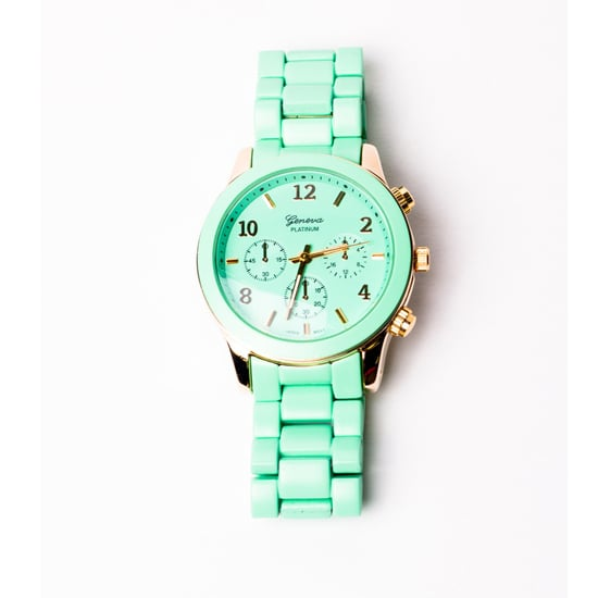 This Geneva oversize watch ($35) comes in a sweet minty hue, but its oversize shape keeps it from being too prissy.