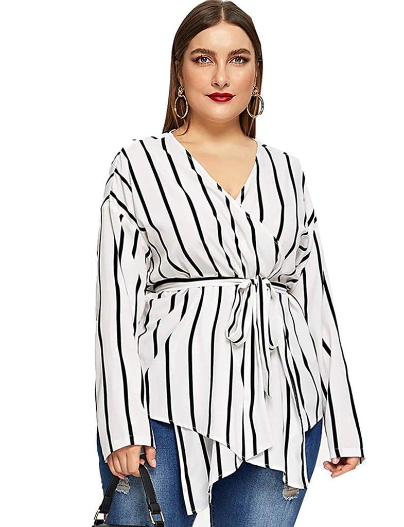 Romwe Stripe Print Wrap Blouse