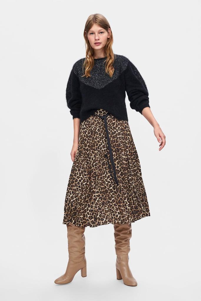 4b71492a52 My Pick: Zara Animal Print Pleated Skirt | Top Fashion Trends ...