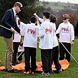 Will hilariously tried to pitch a tent while blindfolded with a group of primary school students in Wales in March 2017.
