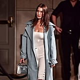 Bella Hadid's White Lace-Up Jeans at Fashion Week