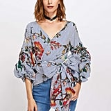 Shein Gathered Sleeve Mixed Print Surplice Wrap Top