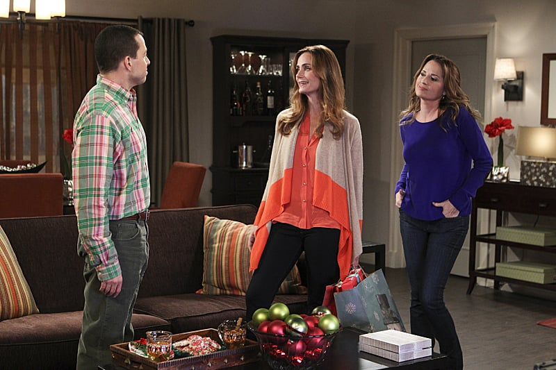 "Two and a Half Men Alan (Jon Cryer), Rachel (Diane Farr), and Paula (Paula Marshall) appear on the show's Dec. 12 holiday episode, ""On Vodka, On Soda, On Blender, on Mixer!"", on CBS."
