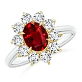 Angara Two Tone GIA Certified Oval Ruby Floral Halo Ring