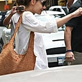 Katie Holmes carried a cute brown shoulder bag.