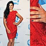 Camila Alves debuted her engagement ring on a red carpet in February following her holiday engagement to Matthew McConaughey. The piece features a large rose-cut diamond.