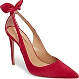 Meghan's Aquazzura Deneuve Bow Pointy Toe Pump in Red