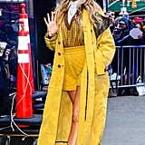 Blake Lively Wearing Yellow Fendi Shorts Outside of Good Morning America in NYC