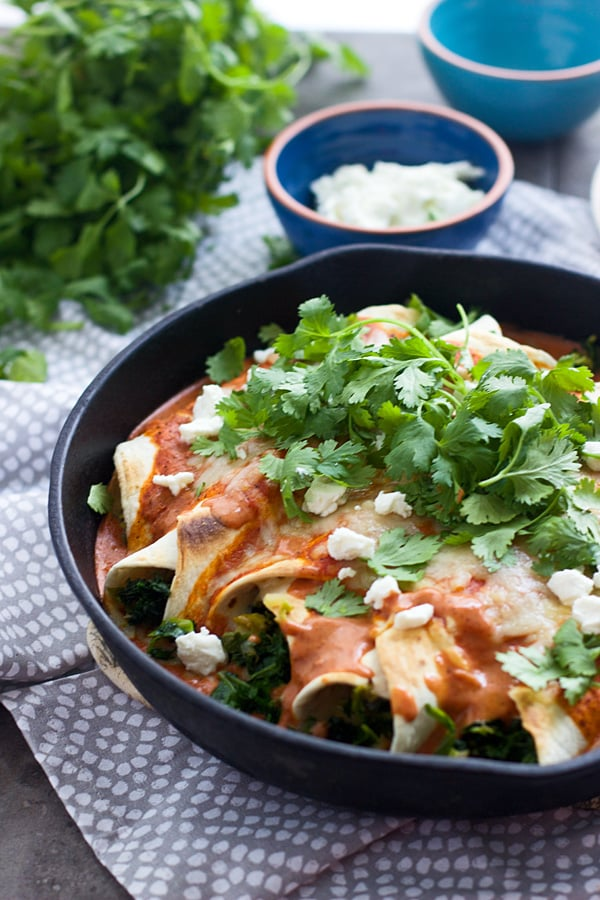 Kale and Brussels Sprout Enchiladas