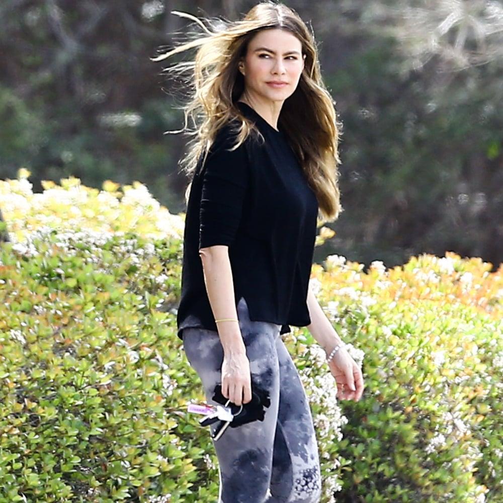 Sofia Vergara Wears Marble-Print Workout Leggings April 2016
