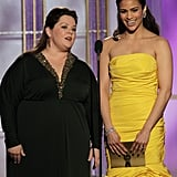 Melissa McCarthy and Paula Patton at the Golden Globes.