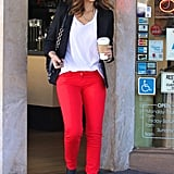 Jessica livened up her LA basics with a splash of red via Kate Spade jeans.