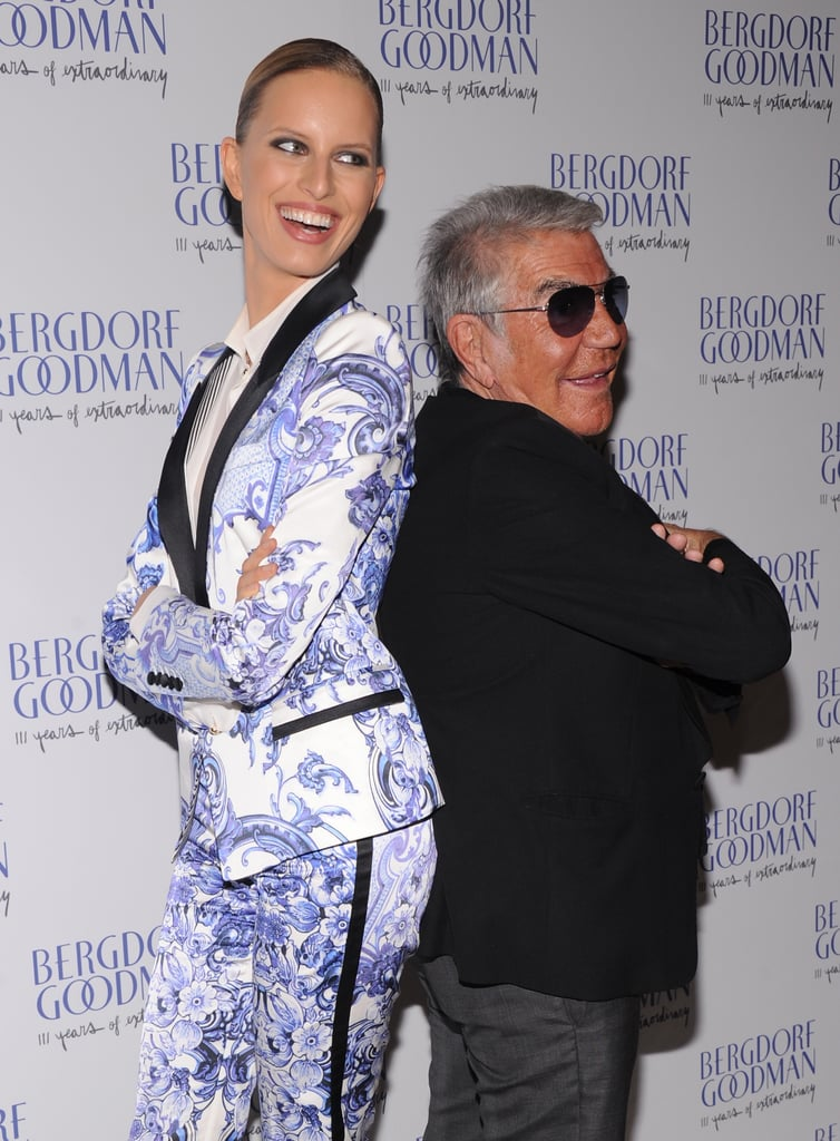 Always the entertainer, Karolina Kurkova went back-to-back with Roberto Cavalli wearing one of the designer's printed suits.