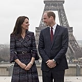 Kate and William posed for photographers in front of the Eiffel Tower during their visit to Paris in March.