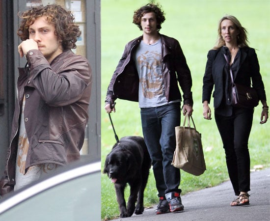Pictures of Aaron Johnson and Sam Taylor-Wood Walking Their Dog in North London
